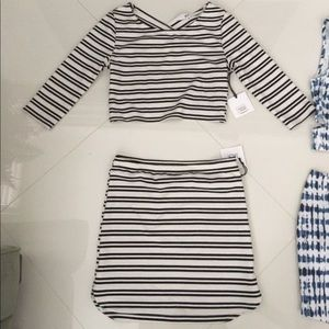 Stripe crop top with X open back and skirt